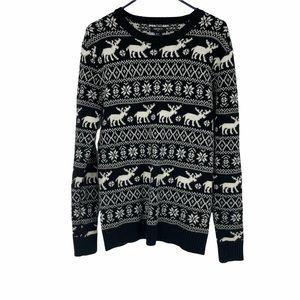 Forever 21 black white reindeer Christmas sweater